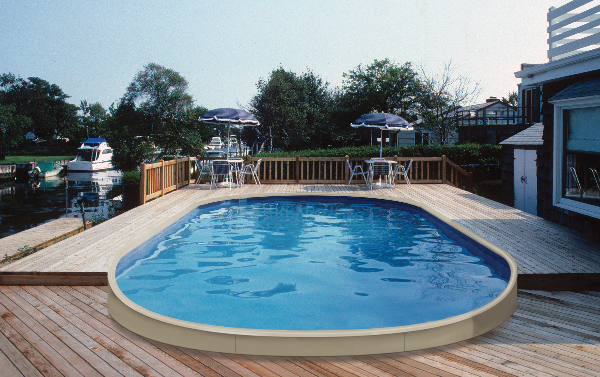 Buy and oval shaped custom above ground pool online - Custom above ground pool ...
